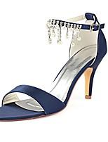 abordables -Femme Escarpins Satin Eté Chaussures de mariage Talon Aiguille Bout ouvert Cristal / Perle Bleu de minuit / Mariage / Soirée & Evénement