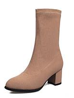 baratos -Mulheres Fashion Boots Tecido elástico Outono Botas Salto Robusto Dedo Fechado Botas Cano Médio Preto / Bege / Vinho