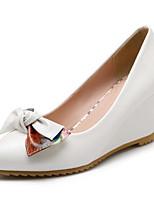 Недорогие -Жен. Комфортная обувь Полиуретан Осень Обувь на каблуках Туфли на танкетке Бант Белый / Синий / Розовый