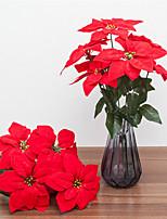 abordables -Fleurs artificielles 1 Une succursale Classique Européen Poinsettia Fleur de Table