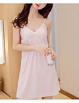 abordables -Satin & Soie Vêtement de nuit Femme - Dos Nu, Couleur Pleine