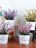 Недорогие -Искусственные Цветы 1 Филиал Классический / Односпальный комплект (Ш 150 x Д 200 см) Стиль / Modern Ваза Букеты на стол