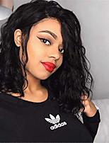 Недорогие -человеческие волосы Remy Полностью ленточные Лента спереди Парик Бразильские волосы Loose Curl Черный Парик Ассиметричная стрижка 130% 150% 180% Плотность волос / с детскими волосами