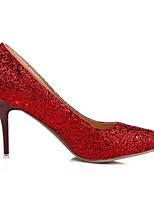 Недорогие -Жен. Комфортная обувь Полиуретан Лето Обувь на каблуках На шпильке Серебряный / Красный / Зеленый