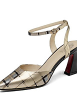 Недорогие -Жен. Комфортная обувь Наппа Leather Весна Обувь на каблуках На толстом каблуке Золотой / Серебряный