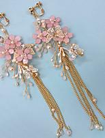 Недорогие -Жен. Белый Белый Длиные Серьги-слезки - Искусственный жемчуг Цветы Мода Розовый Назначение Для вечеринок Повседневные