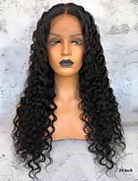 Недорогие -Не подвергавшиеся окрашиванию 360 Лобовой Парик Бразильские волосы Волнистый Парик Глубокое разделение 150% Плотность волос Нейтральный Длинные Парики из натуральных волос на кружевной основе
