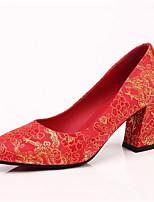 abordables -Femme Chaussures de confort Satin Printemps Chaussures de mariage Talon Bottier Rouge