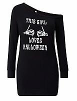 baratos -Mulheres Básico Bainha / Camiseta Vestido - Patchwork / Estampado, Sólido / Geométrica Acima do Joelho
