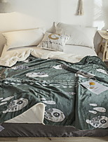 baratos -Flanela, Impressão Reactiva Geométrica Algodão / Poliéster cobertores