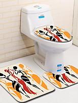 baratos -3 Peças Modern Tapetes Anti-Derrapantes Poliéster Elástico Tricotado 100g / m2 Criativo Oval / Retângular Banheiro Novo Design