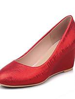 Недорогие -Жен. Комфортная обувь Полиуретан Весна Обувь на каблуках Туфли на танкетке Белый / Красный / Миндальный
