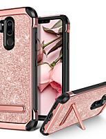 Недорогие -BENTOBEN Кейс для Назначение LG G7 / LG G7 ThinQ Защита от удара / со стендом / Покрытие Кейс на заднюю панель Сияние и блеск Твердый Кожа PU / ТПУ / ПК для LG G7 / LG G7 ThinQ