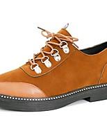 Недорогие -Жен. Армейские ботинки Полиуретан Осень Ботинки На толстом каблуке Круглый носок Черный / Зеленый / Темно-коричневый