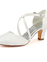 baratos -Mulheres Stiletto Cetim Verão / Outono Sapatos De Casamento Salto Robusto Ponta Redonda Presilha Ivory / Festas & Noite