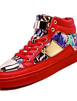 Недорогие -Муж. Комфортная обувь Полиуретан Осень На каждый день Кеды Нескользкий Контрастных цветов Белый / Черный / Красный