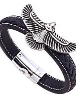 Недорогие -Муж. Ретро Кожаные браслеты - Нержавеющая сталь, Кожа Eagle Классика, Винтаж Браслеты Черный / Коричневый Назначение Подарок Для улицы