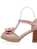 Недорогие -Жен. Комфортная обувь Полиуретан Лето Обувь на каблуках На толстом каблуке Белый / Лиловый / Розовый