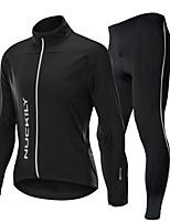 Недорогие -Nuckily Велокуртка и брюки - Черный Велоспорт С защитой от ветра, Зима Однотонный