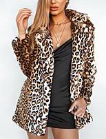 Недорогие -Жен. Пальто с мехом Уличный стиль / Изысканный - Леопард