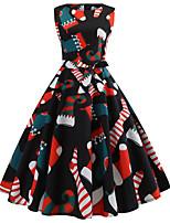 baratos -Mulheres Vintage / Elegante balanço Vestido - Estampado, Floral Altura dos Joelhos