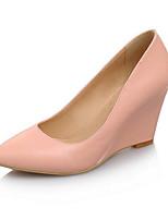 Недорогие -Жен. Комфортная обувь Полиуретан Весна Обувь на каблуках Туфли на танкетке Черный / Красный / Розовый