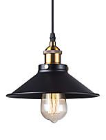 baratos -Sombra de metal preto do vintage mini pingente luzes 1-luz sala de estar sala de jantar corredor pingente de iluminação