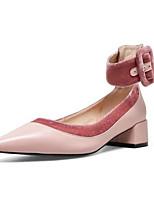 Недорогие -Жен. Комфортная обувь Наппа Leather Осень Обувь на каблуках На толстом каблуке Черный / Розовый