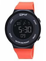 Недорогие -Муж. Спортивные часы Цифровой 50 m Календарь Хронометр Фосфоресцирующий силиконовый Группа Цифровой Мода Цветной Черный / Оранжевый / Небесно-голубой - Оранжевый Синий Светло-синий / Один год