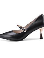 Недорогие -Жен. Комфортная обувь Наппа Leather Лето / Весна лето Обувь на каблуках На шпильке Черный / Телесный
