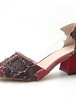 Недорогие -Жен. Балетки Полиуретан Наступила зима На каждый день Обувь на каблуках На толстом каблуке Круглый носок Черный / Красный / Миндальный / Повседневные