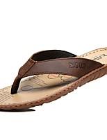 Недорогие -Жен. Комфортная обувь Кожа Лето Винтаж / На каждый день Тапочки и Шлепанцы На плоской подошве Черный / Коричневый