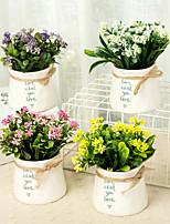 Недорогие -Искусственные Цветы 1 Филиал Классический / Односпальный комплект (Ш 150 x Д 200 см) Стиль / Modern Pастений / Ваза Букеты на стол