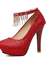 Недорогие -Жен. Комфортная обувь Полотно Весна Обувь на каблуках На шпильке Золотой / Серебряный / Красный