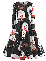 baratos -Mulheres Vintage / Elegante balanço Vestido - Estampado, Geométrica Altura dos Joelhos