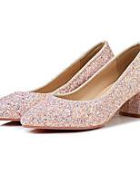 Недорогие -Жен. Комфортная обувь Полотно Весна Обувь на каблуках На толстом каблуке Черный / Красный / Розовый