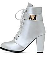 Недорогие -Жен. Комфортная обувь Полиуретан Осень Ботинки На толстом каблуке Черный / Коричневый / Серебряный