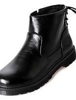 Недорогие -Жен. Fashion Boots Полиуретан Осень Минимализм Ботинки На низком каблуке Круглый носок Сапоги до середины икры Черный
