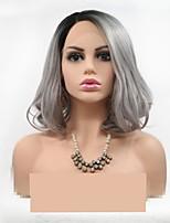 Недорогие -Синтетические кружевные передние парики Естественные кудри Стрижка каскад 130% Человека Плотность волос Искусственные волосы 12 дюймовый Женский Черный / Серый Парик Жен. Короткие Лента спереди Серый