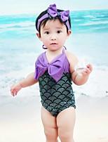 abordables -La Petite Sirène Fille Enfant One Piece Bikini Le Jour des enfants Fête / Célébration Tenue Vert Paillette Nœud papillon Sirène