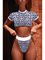 abordables -Femme Sportif / Basique Epaules Dénudées Bleu Jaune Triangle Slip Brésilien Tankinis Maillots de Bain - Léopard Imprimé S M L / Super sexy