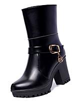 Недорогие -Жен. Fashion Boots Полиуретан Осень Минимализм Ботинки На толстом каблуке Круглый носок Сапоги до середины икры Черный / Винный