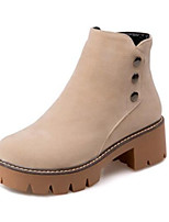 Недорогие -Жен. Fashion Boots Полиуретан Осень Ботинки На толстом каблуке Закрытый мыс Ботинки Черный / Бежевый / Темно-коричневый