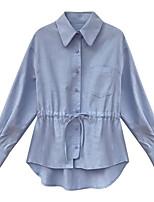 Недорогие -женская рубашка размера размера - сплошной цветной воротник рубашки