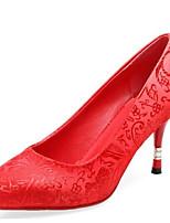 Недорогие -Жен. Комфортная обувь Полотно / Сетка Осень Свадебная обувь На шпильке Красный