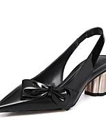 Недорогие -Жен. Комфортная обувь Наппа Leather Весна лето Обувь на каблуках На толстом каблуке Белый / Черный