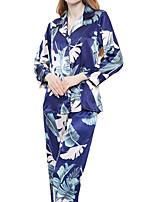 abordables -Col de Chemise Costumes Pyjamas Femme Fleur