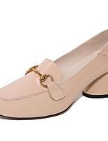 Недорогие -Жен. Балетки Наппа Leather Весна Обувь на каблуках На толстом каблуке Черный / Светло-серый / Миндальный