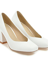 Недорогие -Жен. Комфортная обувь Полиуретан Весна Обувь на каблуках На толстом каблуке Белый / Черный