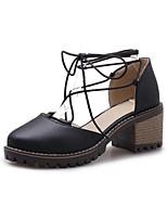 Недорогие -Жен. Балетки Полиуретан Лето Обувь на каблуках На толстом каблуке Черный / Бежевый